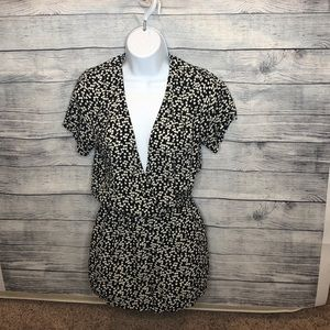 Forever 21 Romper Black with Cream Heart Print